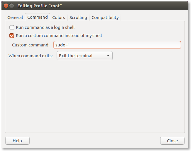 Setting the command in the configuration dialog