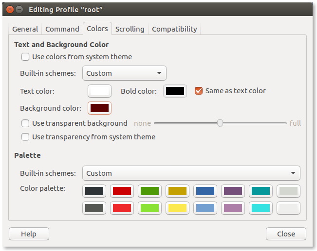 Setting the colors in configuration dialog